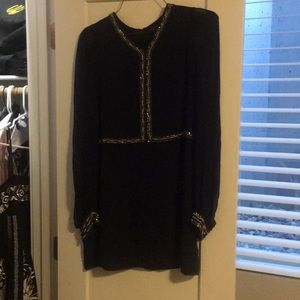 French Connection Dark Navy Embellished Dress Sz 4